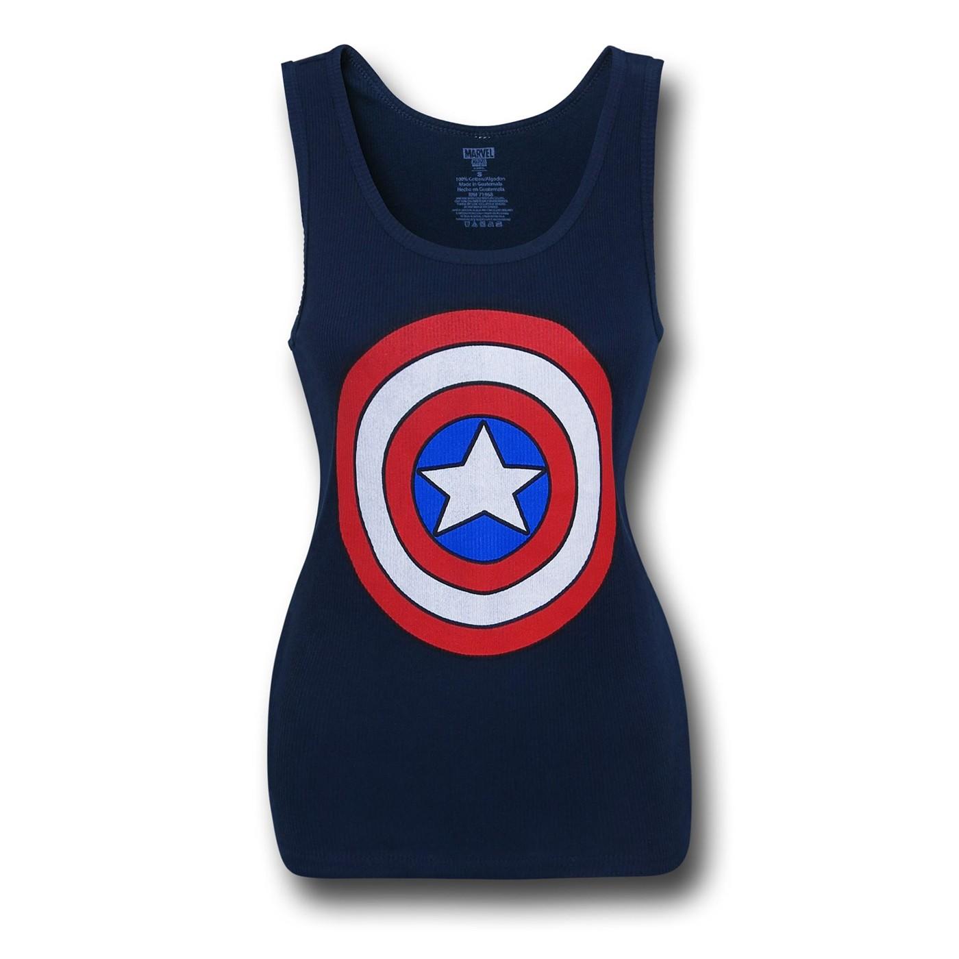Captain America Shield Women's Ribbed Tank Top
