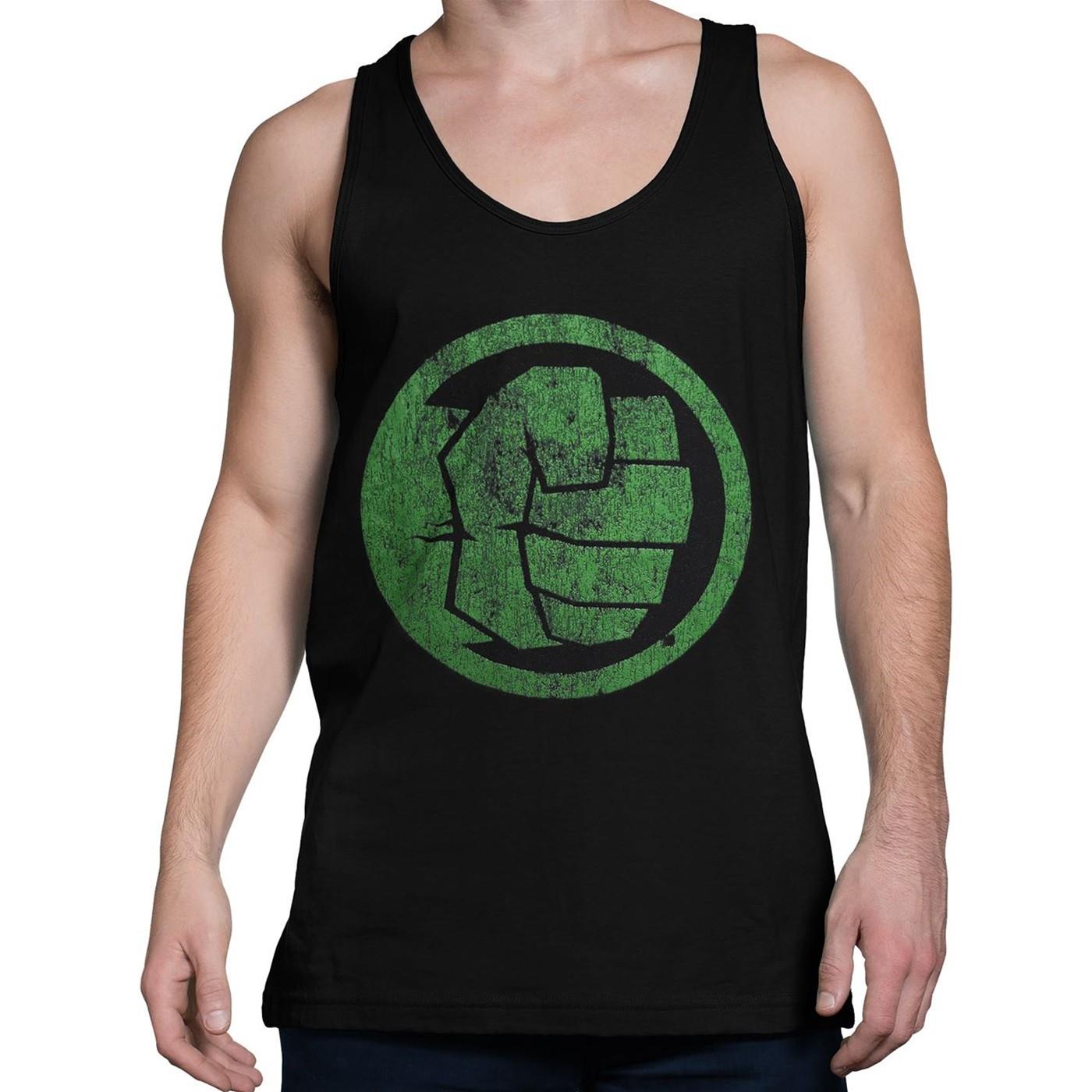 Hulk Fist Bump on Black Men's Tank Top