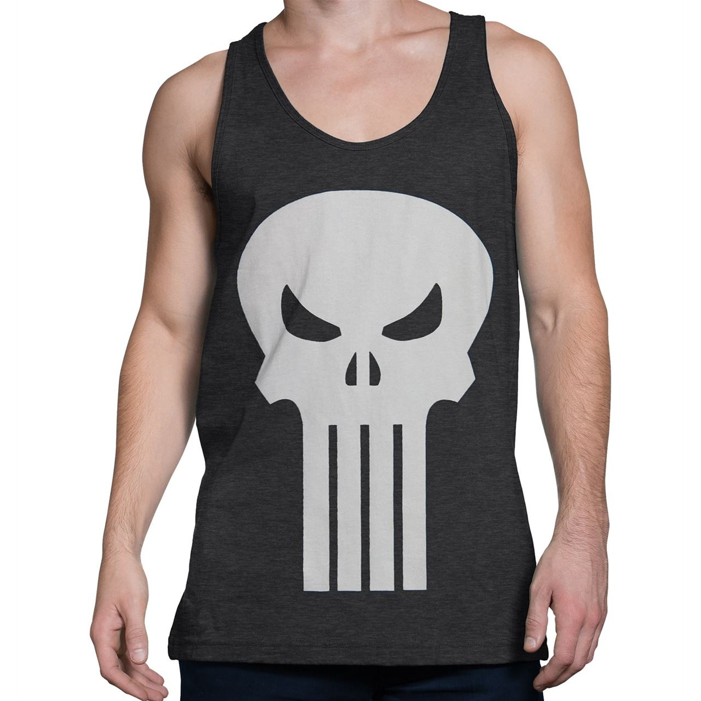 Punisher White Skull Heather Charcoal Tank Top