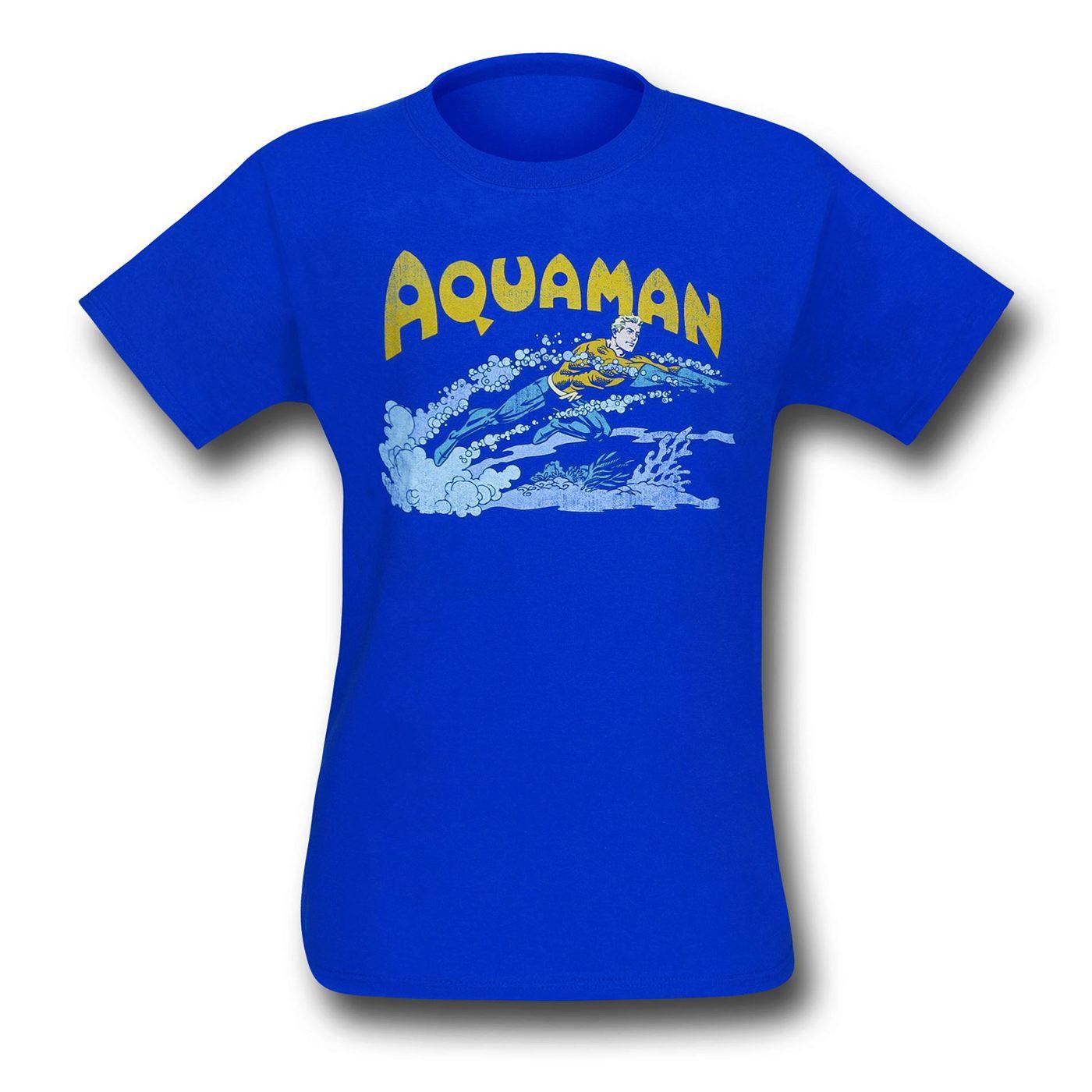 Aquaman Retro Swim Blue T-Shirt