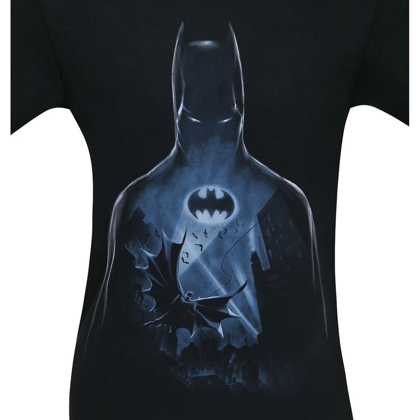 Batman Flight Over Gotham Men's T-Shirt