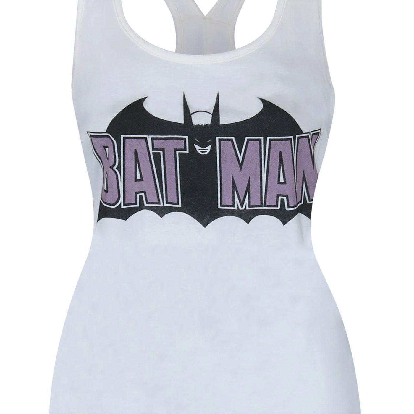 Batman Old School Logo Women's Keyhole Tank Top