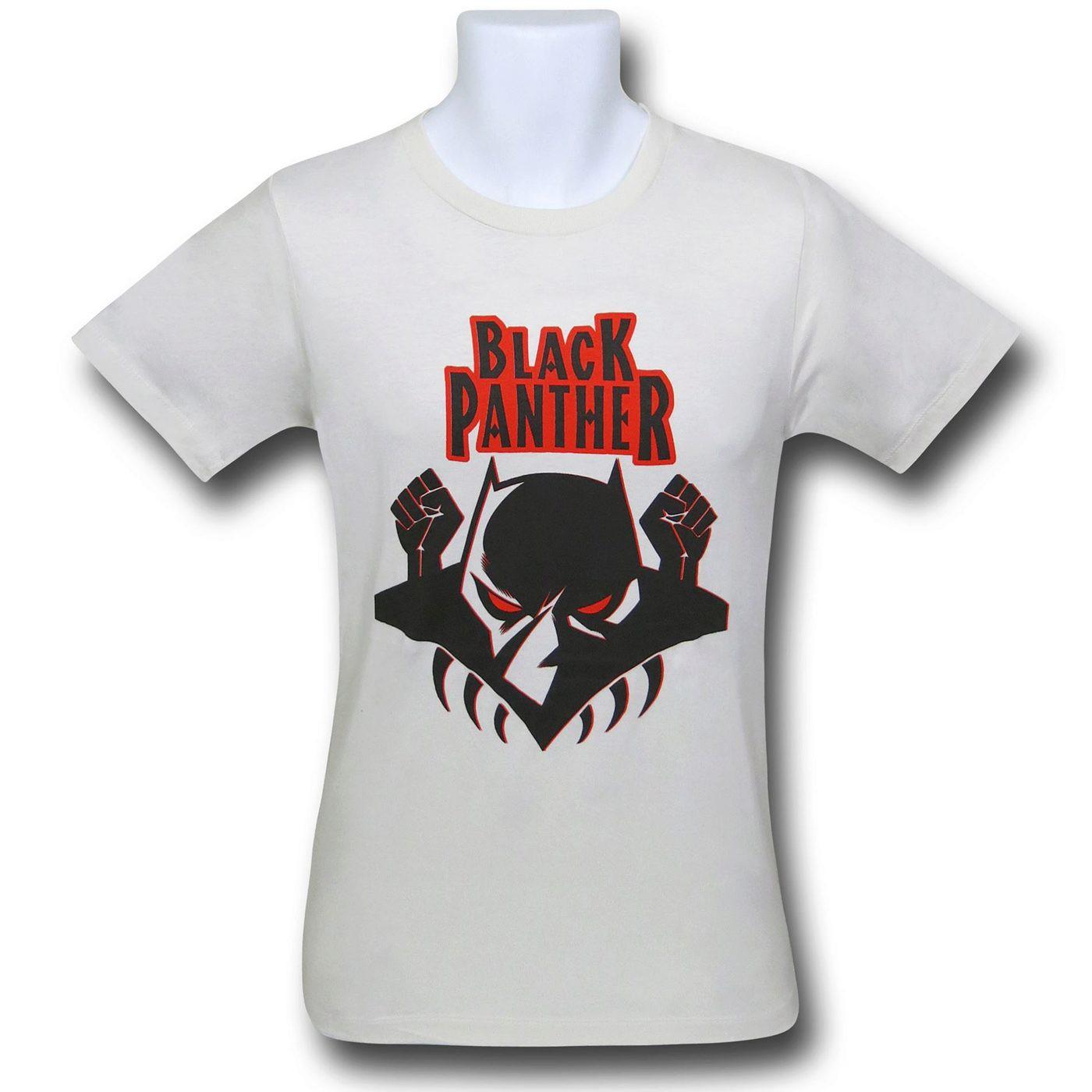 Black Panther Logo on Cream 30 Single T-Shirt