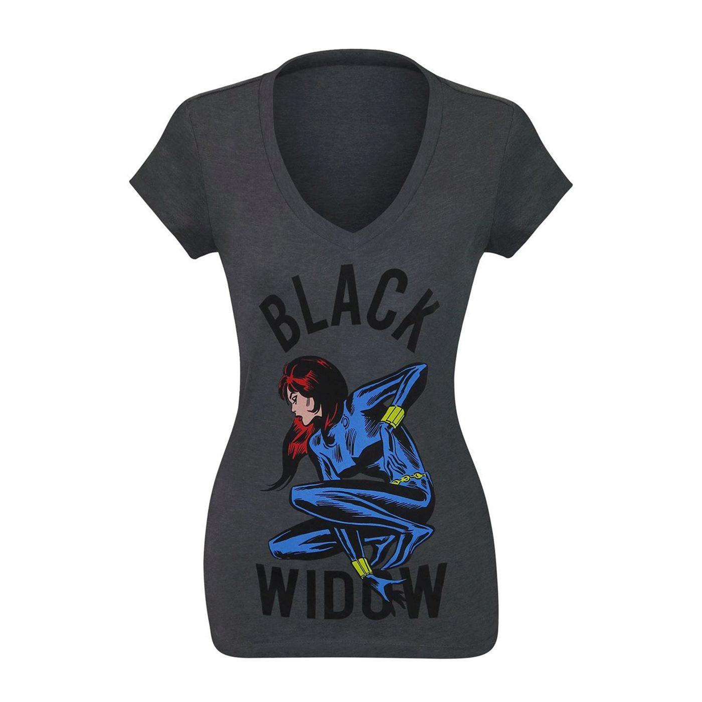Black Widow Crouching Women's V-Neck T-Shirt