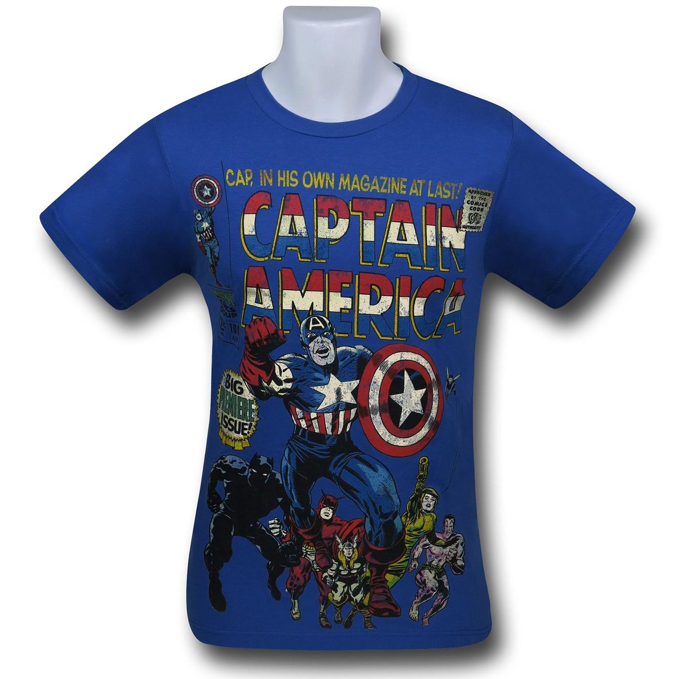 Captain America Big Premiere Blue T-Shirt