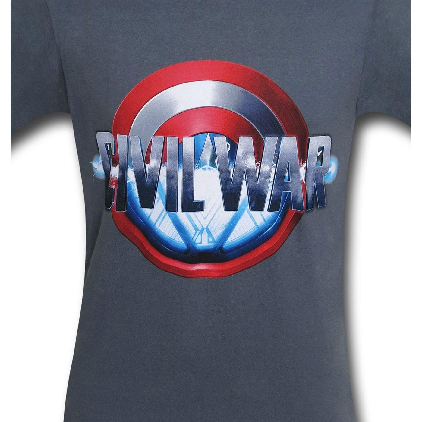 Captain America Civil War Split Logo on Charcoal T-Shirt