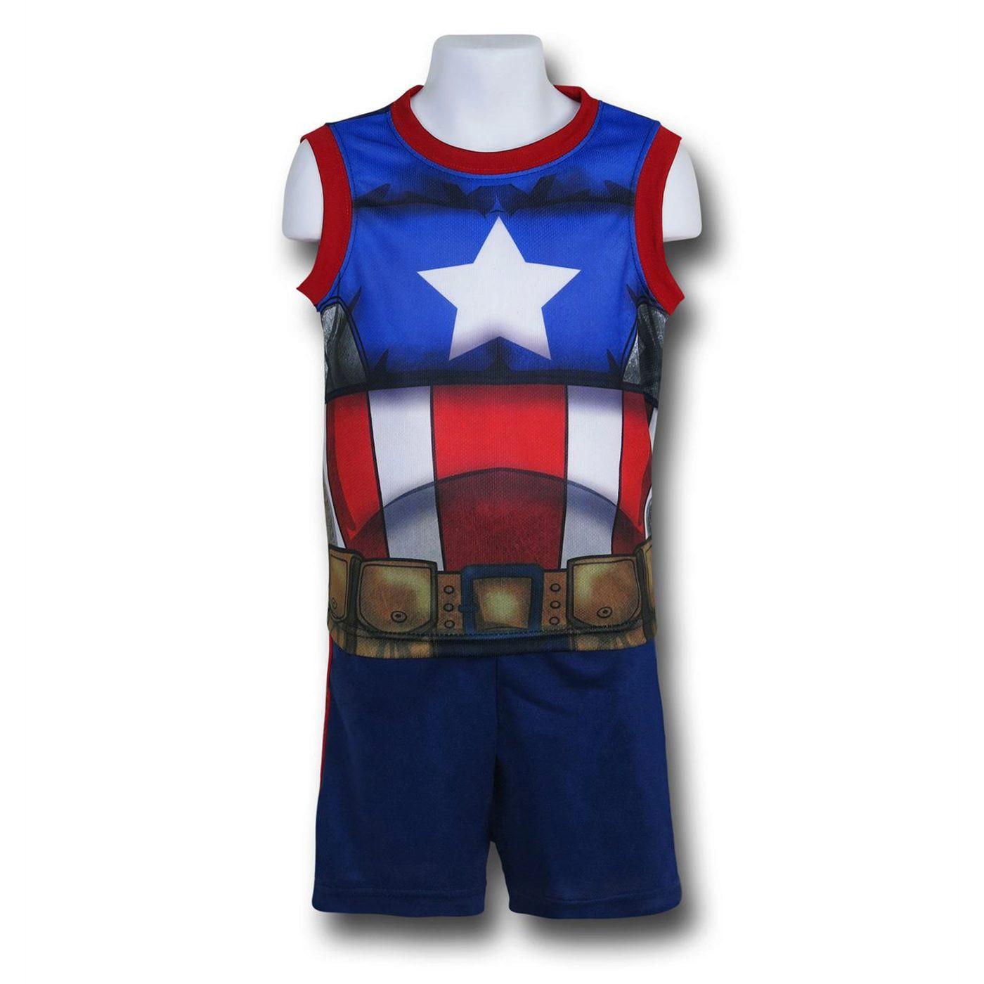 Captain America Costume Tank and Short Set