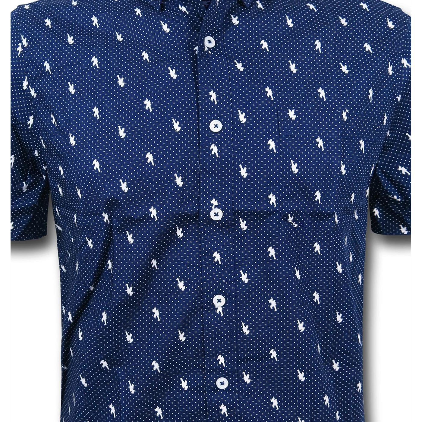 Captain America Pin Dot Men's Fitted Button Down Shirt