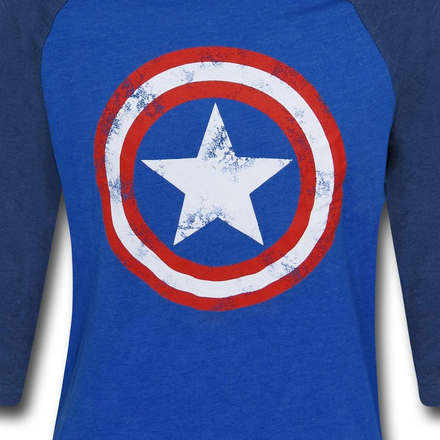 Captain America Shield Blue Baseball T-Shirt