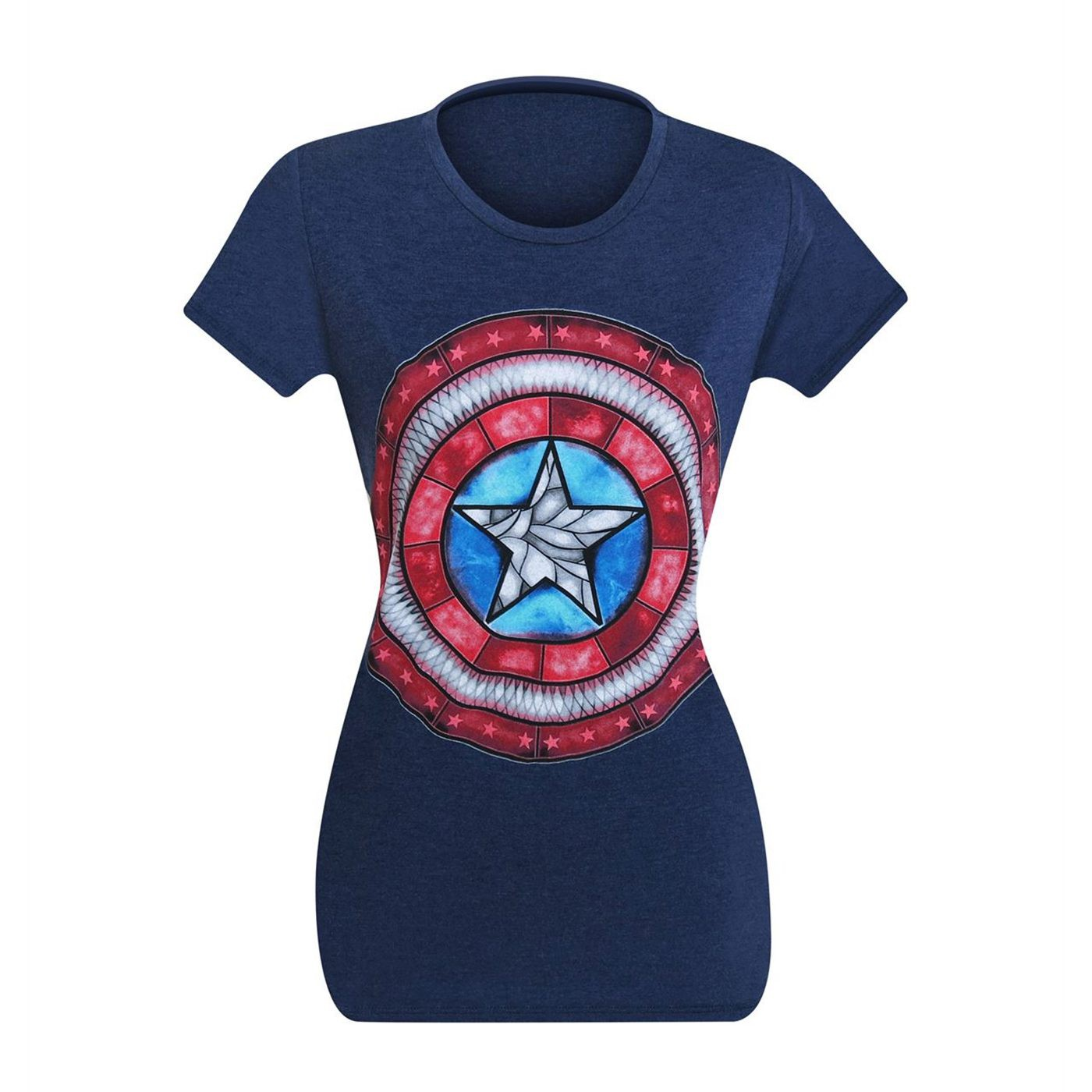 Captain America Stained Glass Shield Women's T-Shirt