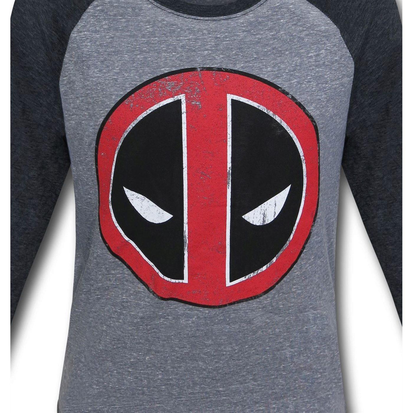 Deadpool Distressed Symbol Baseball T-Shirt