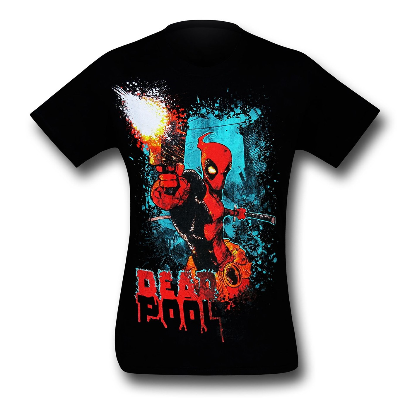 Deadpool Gun Blast Black 30 Single T-Shirt