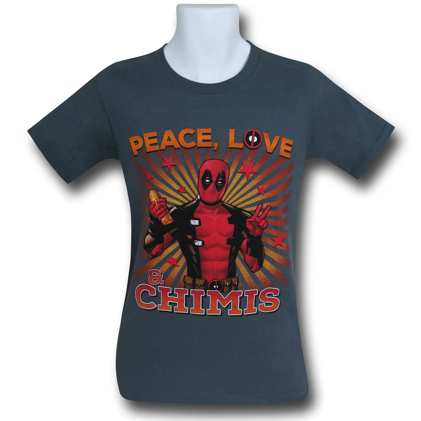 Deadpool Peace Love and Chimis T-Shirt