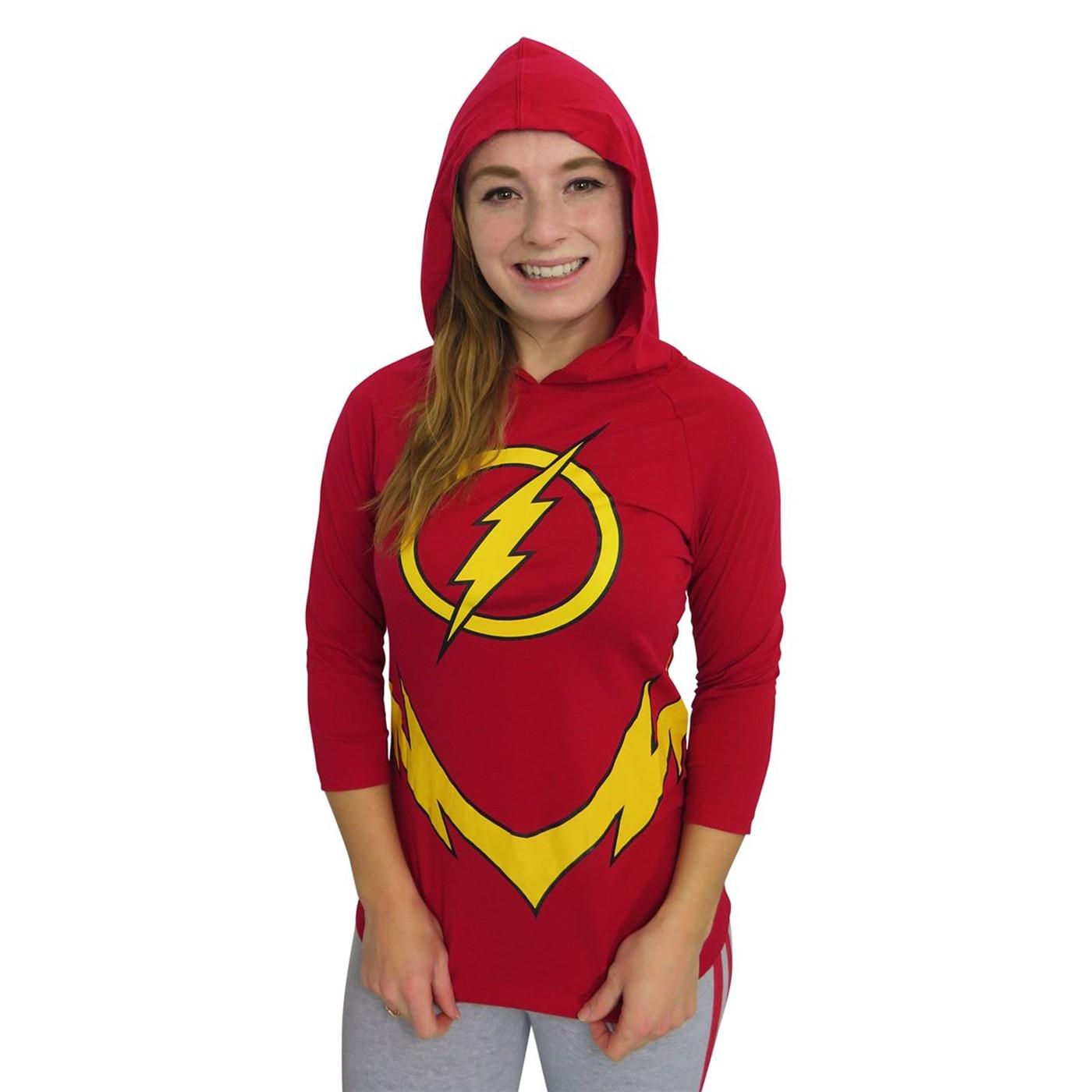 Flash Hooded Mask Women's Costume Long Sleeve T-Shirt