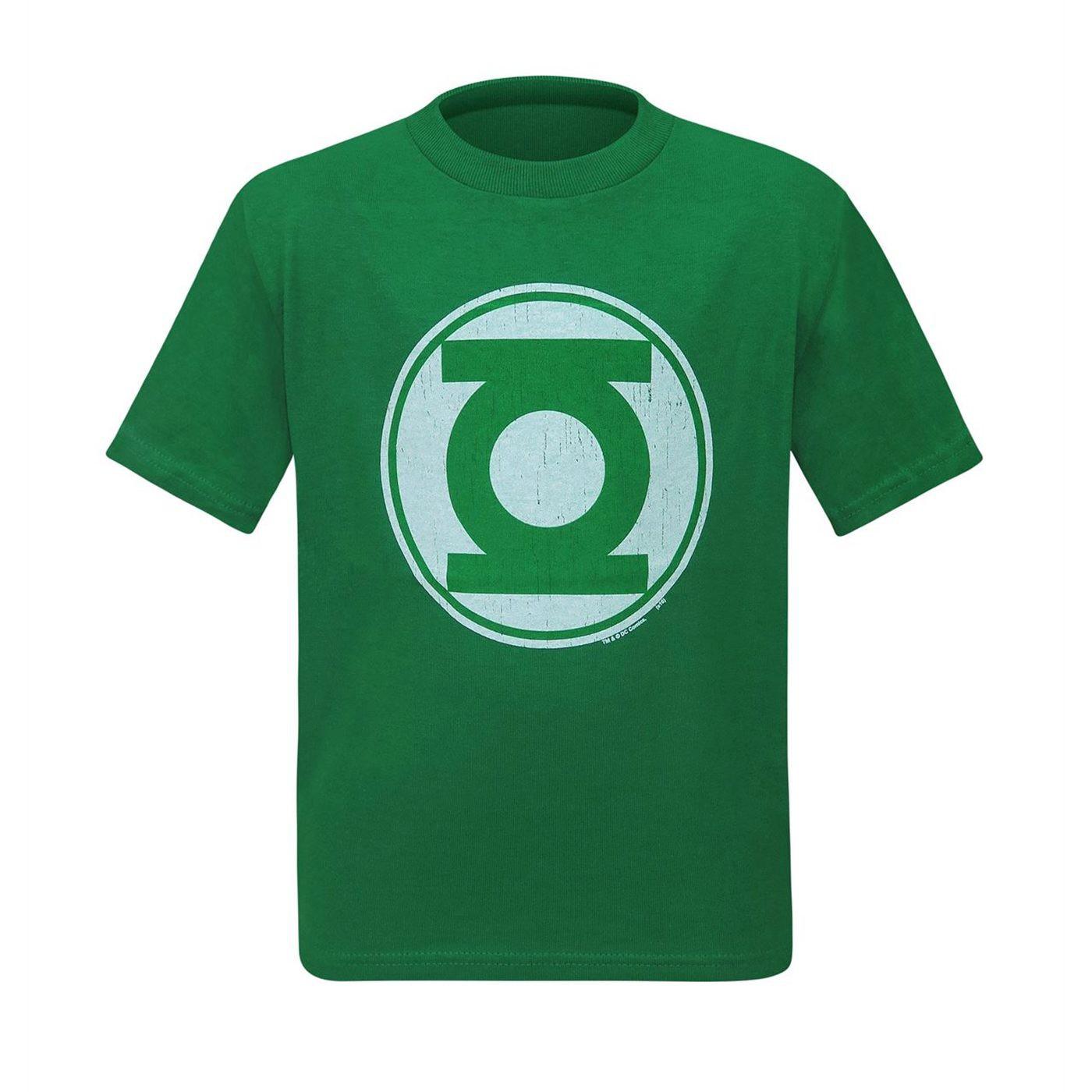 Green Lantern Modern Symbol Distressed Kids T-Shirt