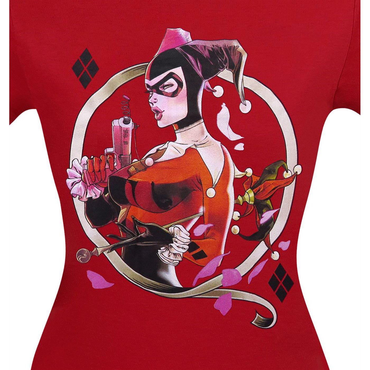 Harley Quinn Image on Red Women's T-Shirt