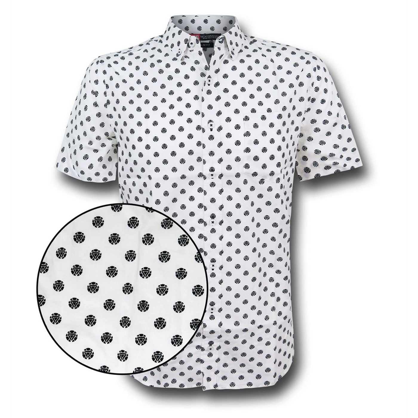 Iron Man Arc Reactor Men's Fitted Button Down Shirt
