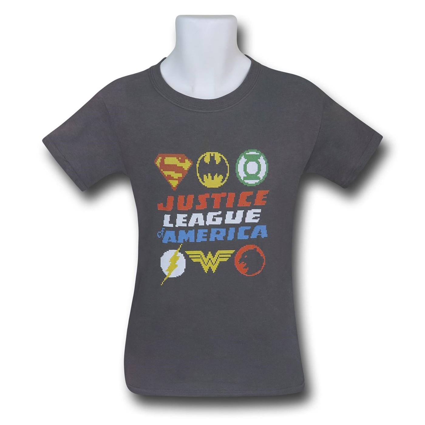 Justice League Pixel Logos Kids T-Shirts
