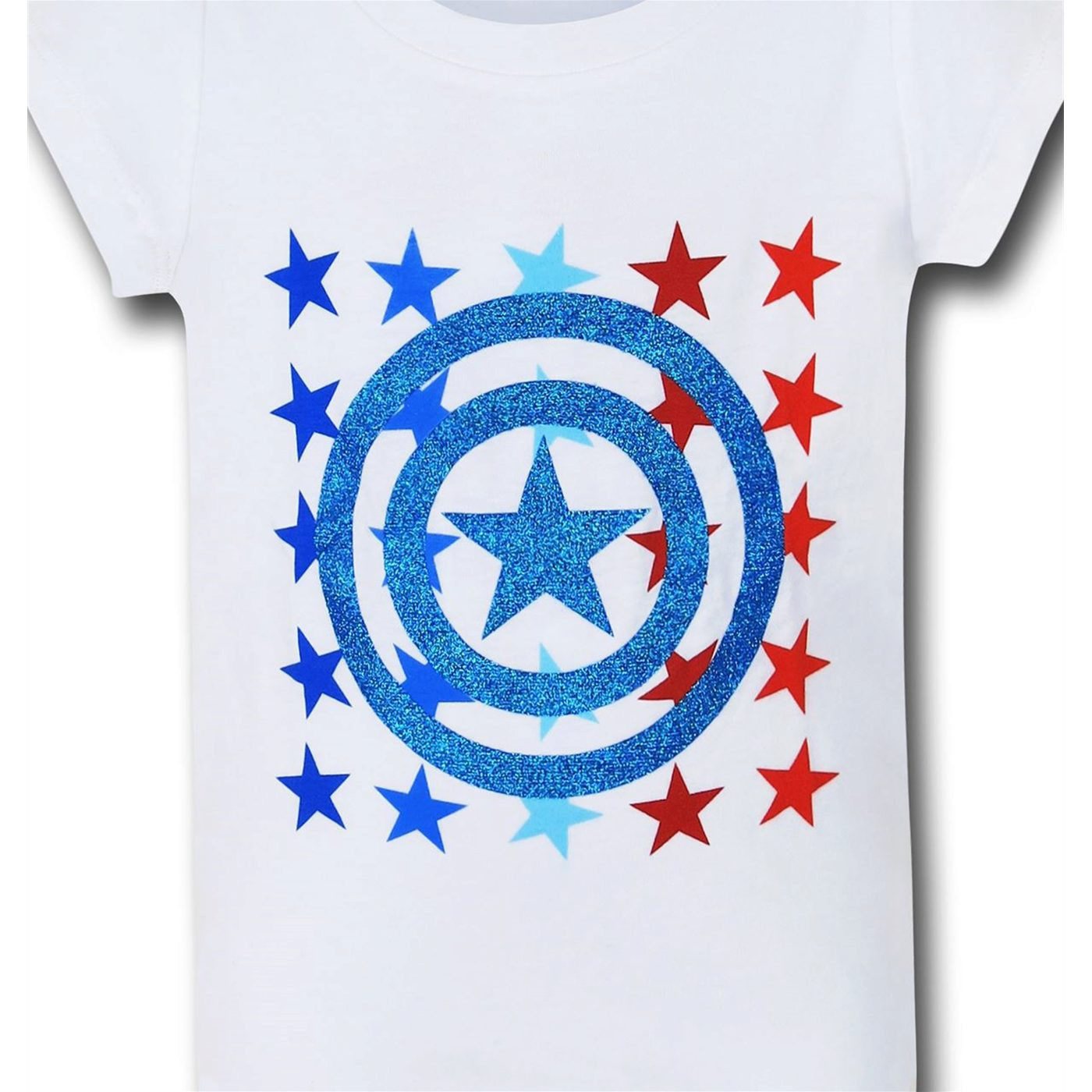 Captain America Glitter Stars Girls Kids T-Shirt
