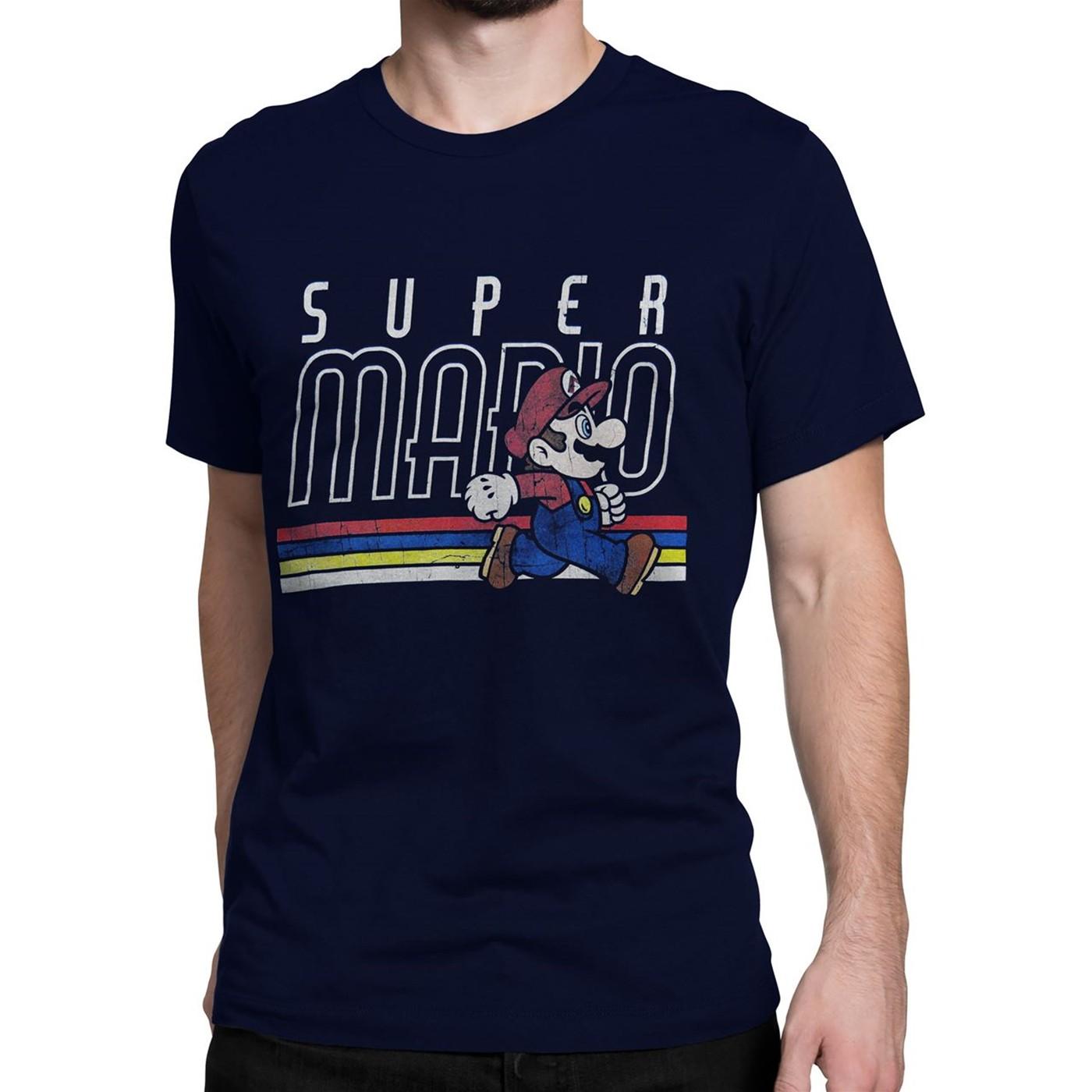 Super Mario Distressed Navy Men's T-Shirt