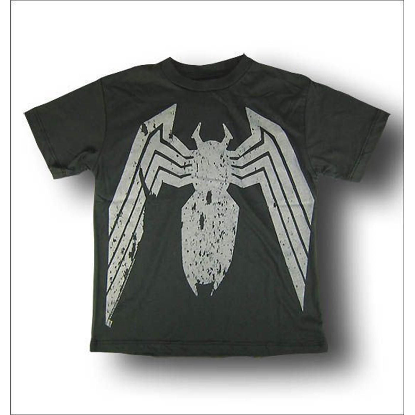 Evil Spiderman Juvenile Black Wash T-Shirt by Junk Food