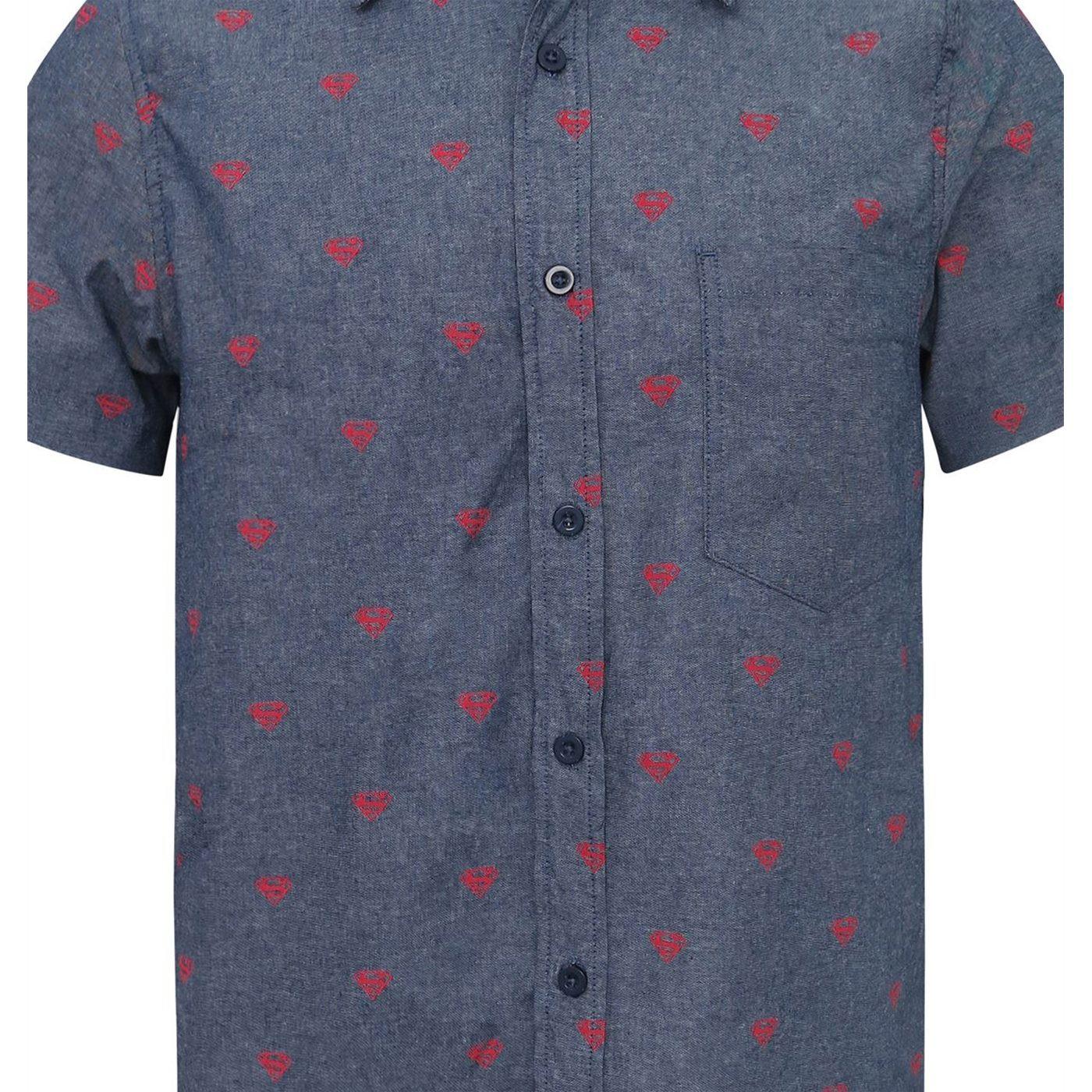 Superman Logo Men's Woven Button Down Shirt