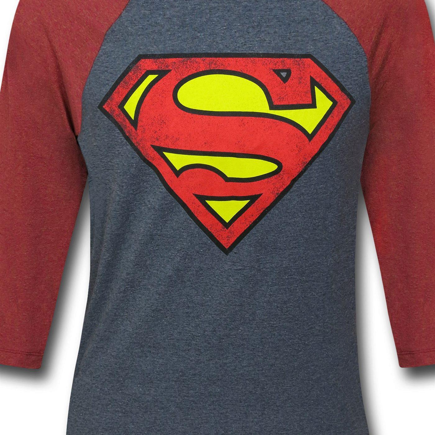Superman Symbol Grey Baseball T-Shirt