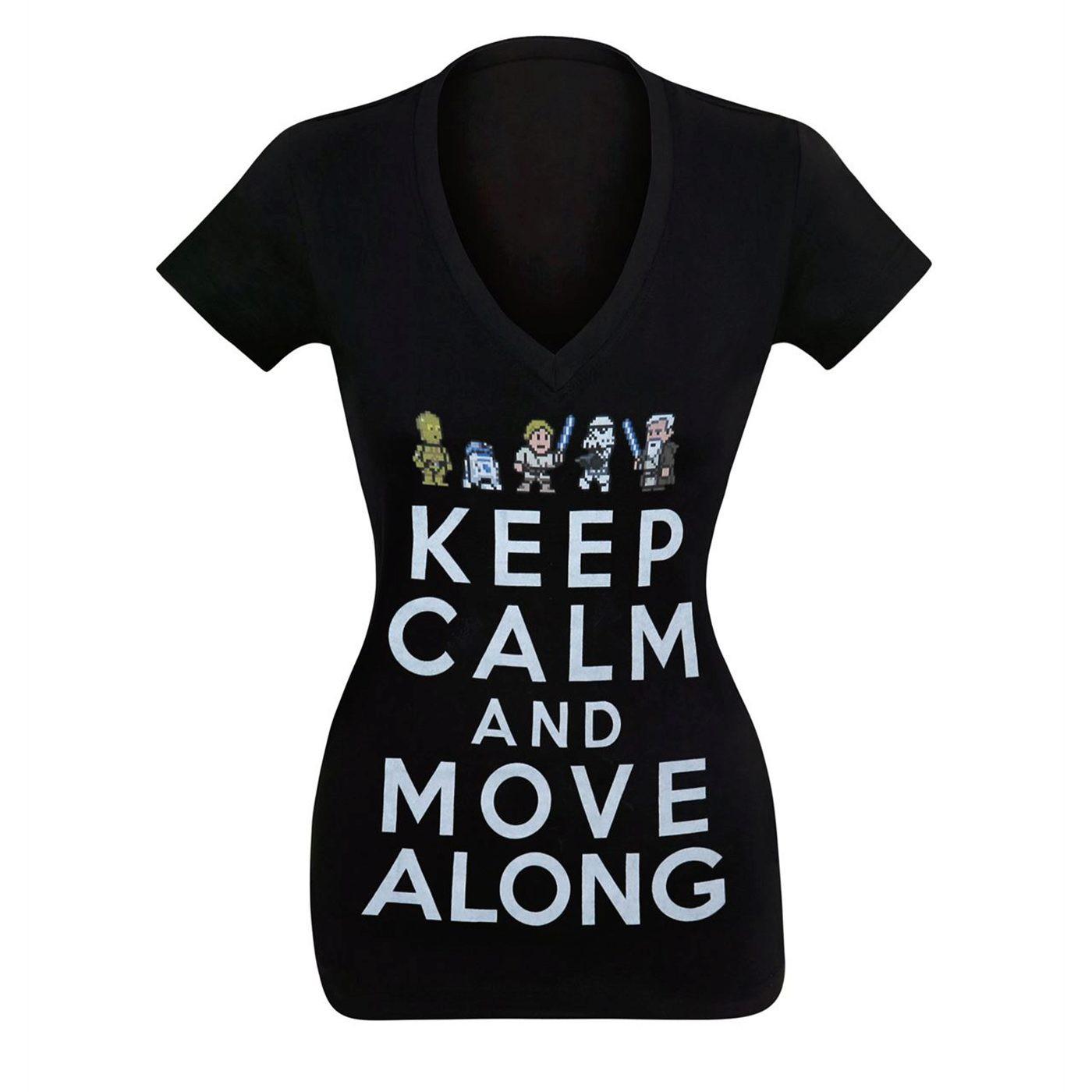 Star Wars Keep Calm Move Along Women's V-Neck T-Shirt