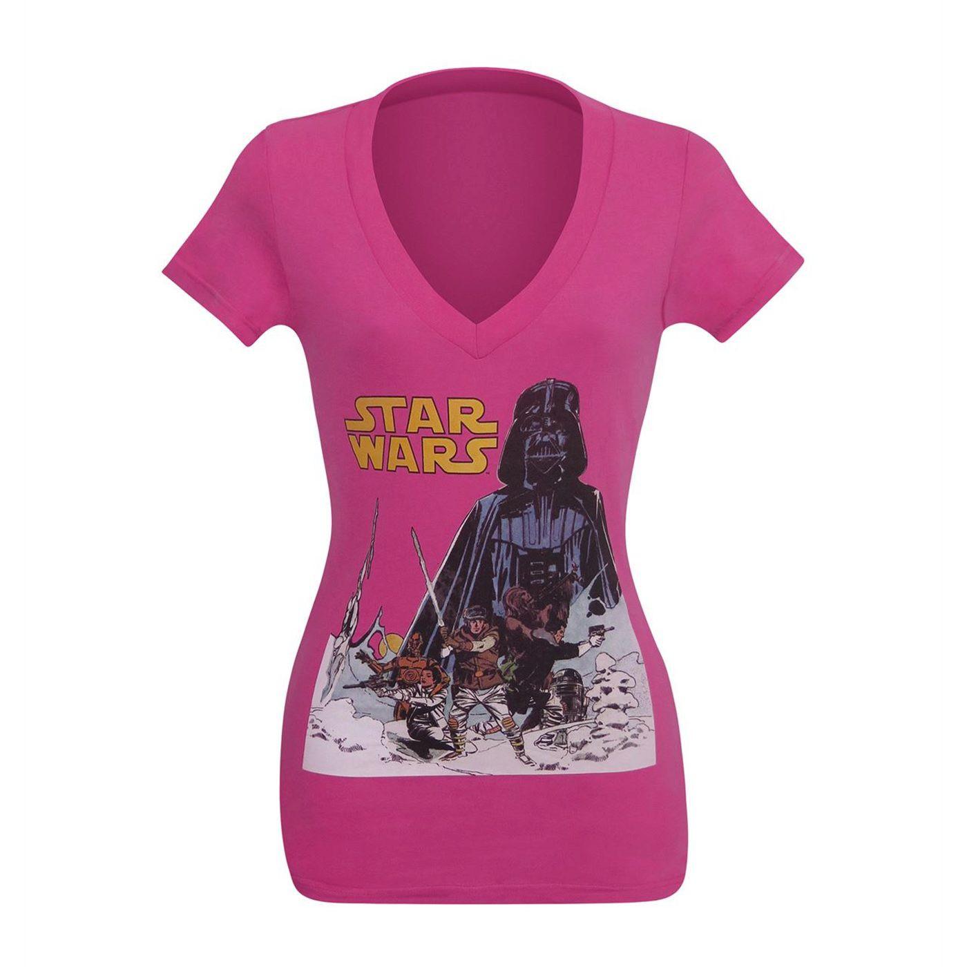 Star Wars Hoth Women's Pink V-Neck T-Shirt