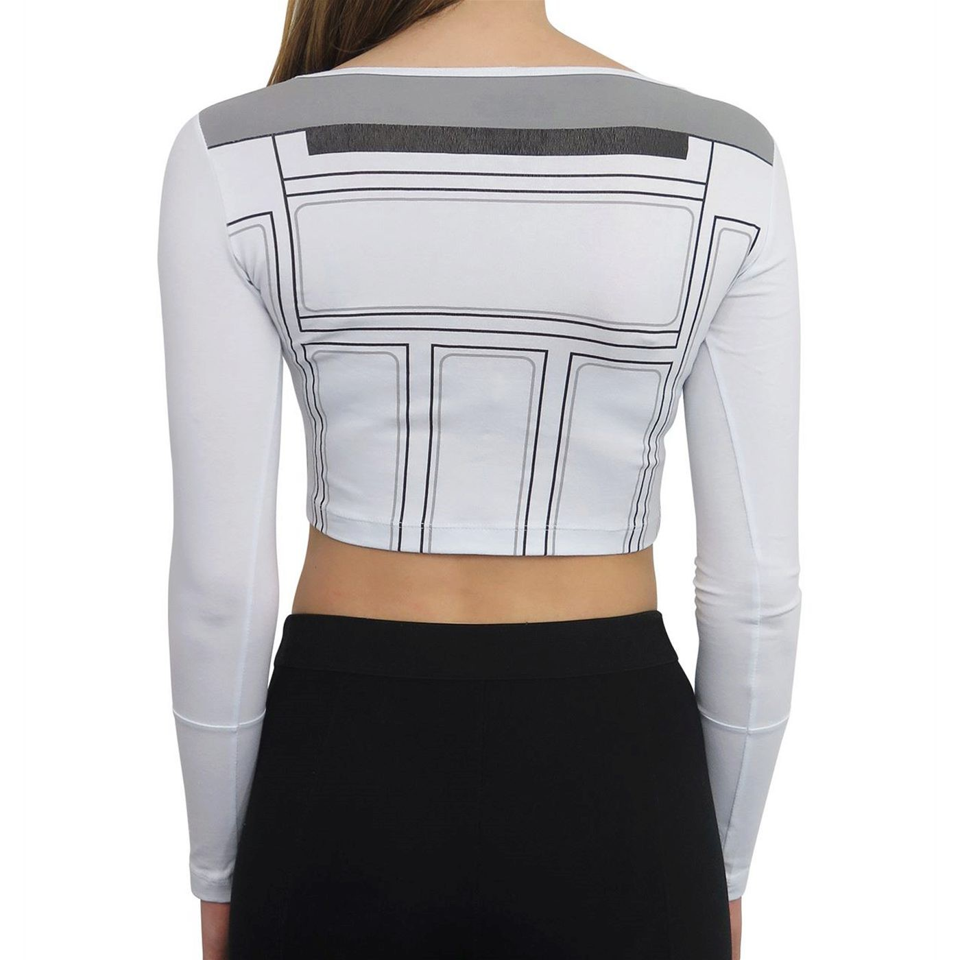 Star Wars R2D2 Long Sleeve Women's Crop Top T-Shirt