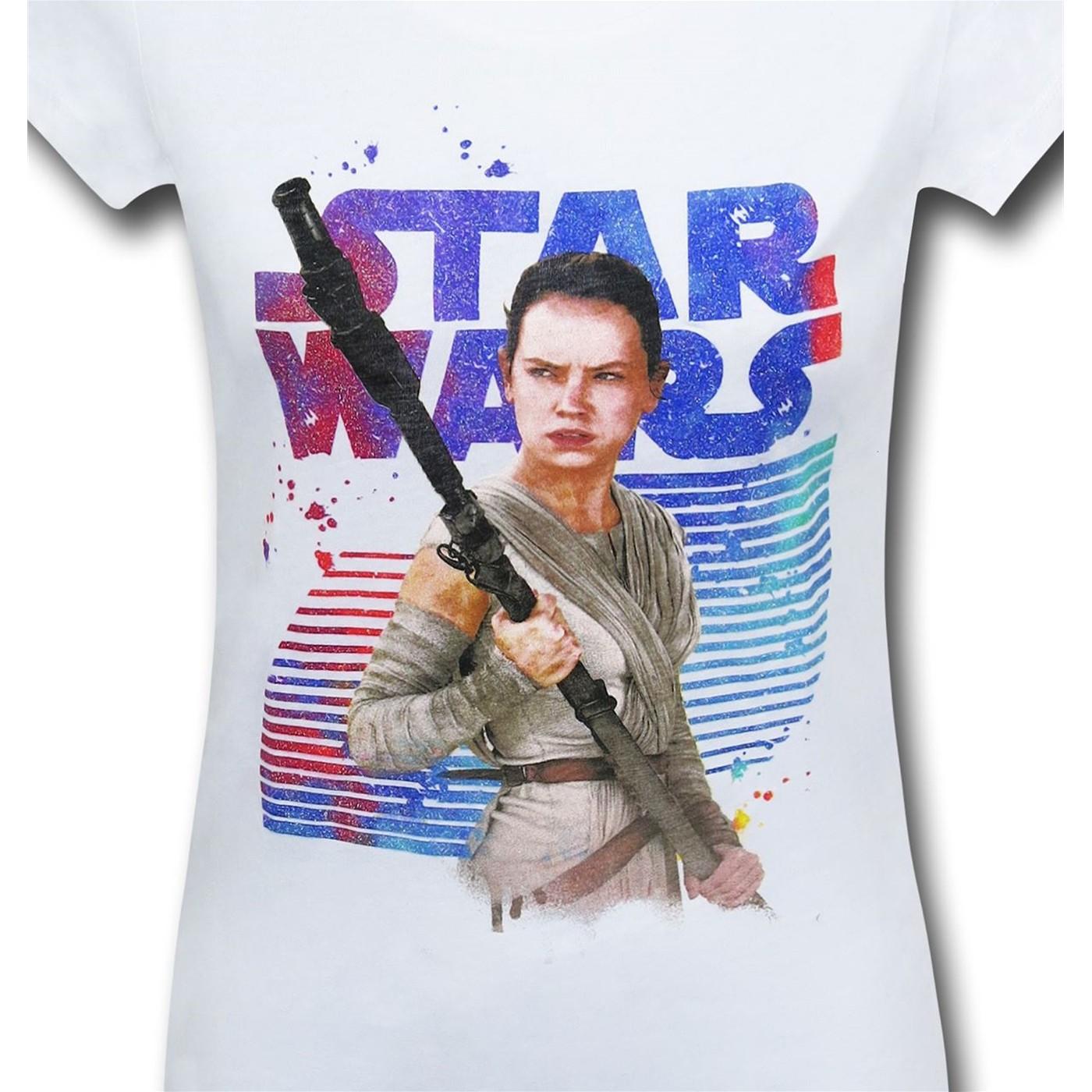 Star Wars Force Awakens Rey Girls White Youth T-Shirt