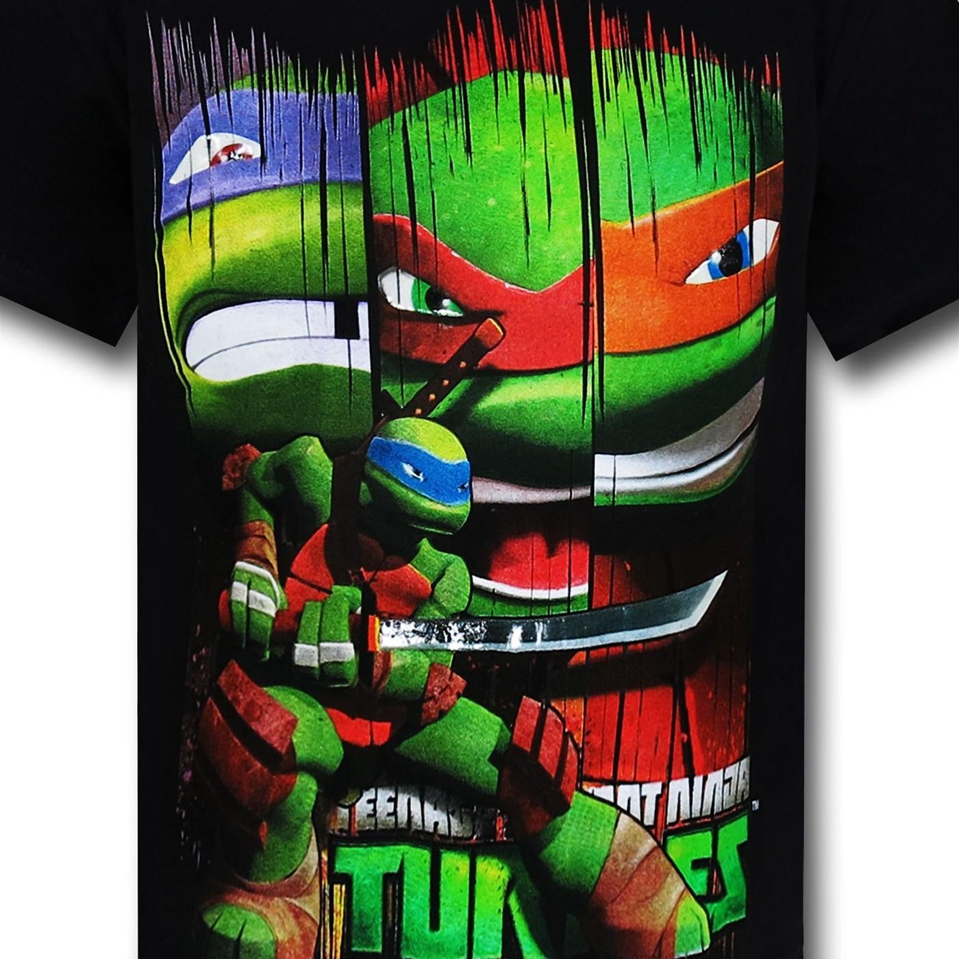 TMNT Leo In Front of Hero Bars Kids T-Shirt