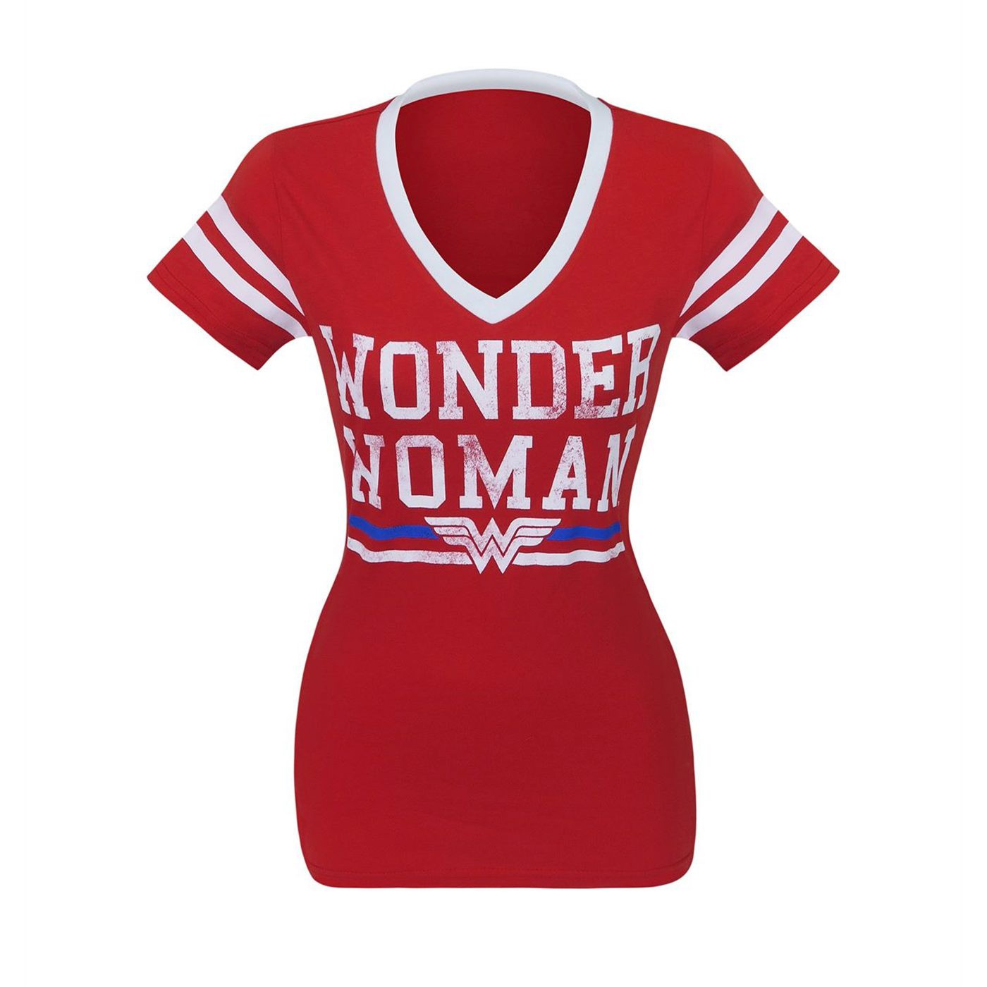 Wonder Woman Logo Women's Varsity V-Neck T-Shirt