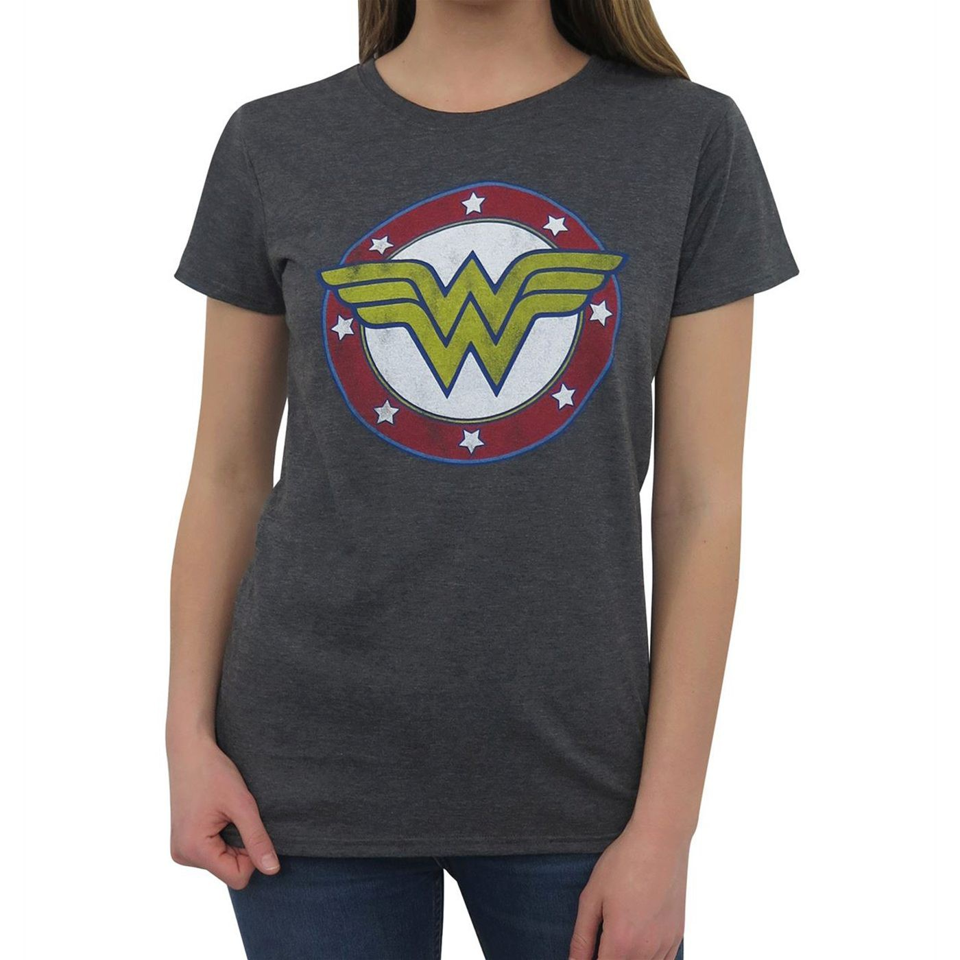 Wonder Woman Symbol & Stars T-Shirt for Women