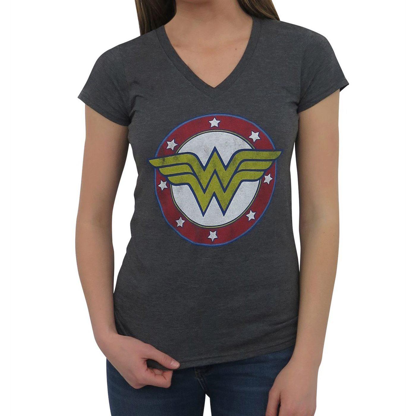 Wonder Woman Symbol & Stars Women's V-Neck T-Shirt