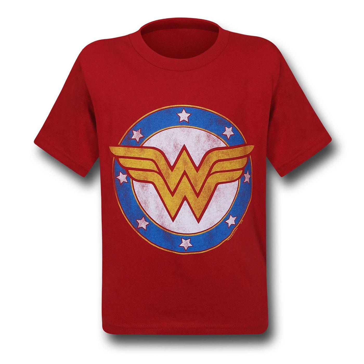 Wonder Woman Symbol & Stars Kids T-Shirt