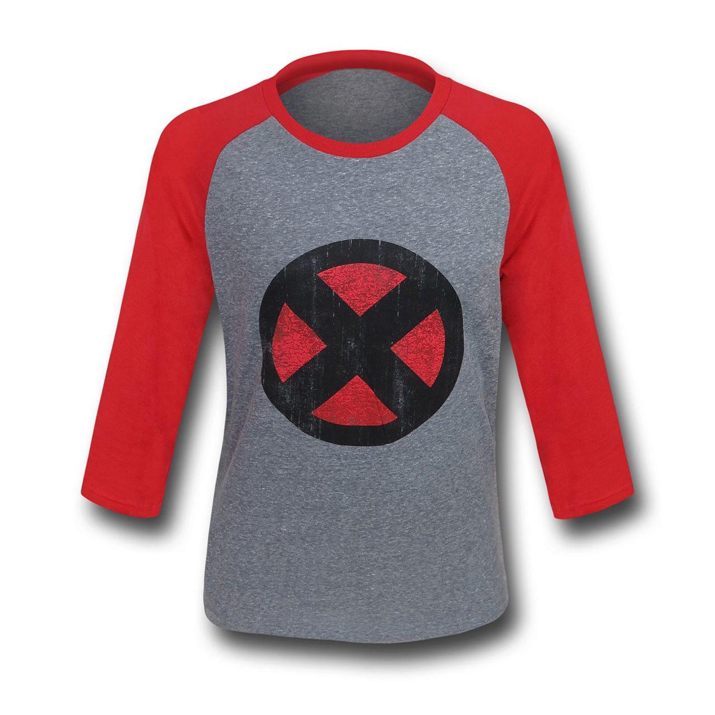 X-Men Distressed Symbol Men's Baseball T-Shirt