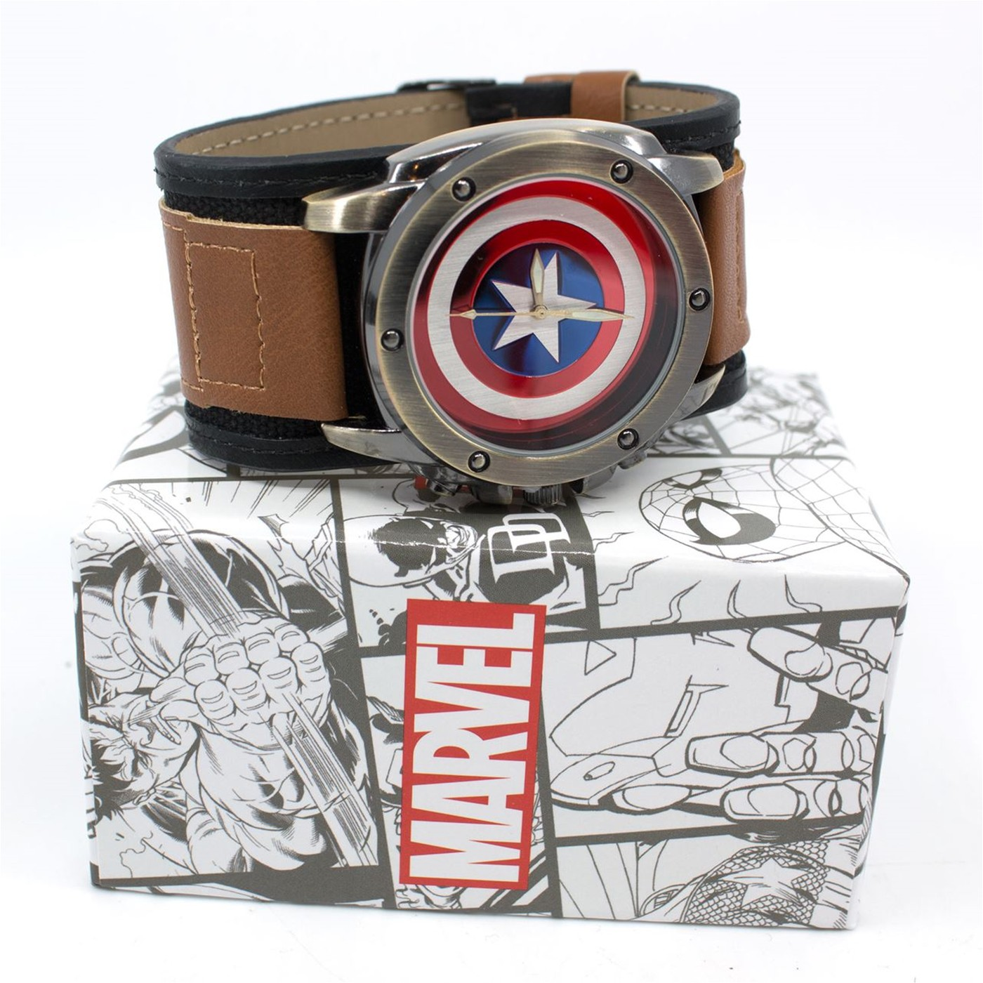 Captain America Shield Watch with Dual Fasten  Adjustable Strap