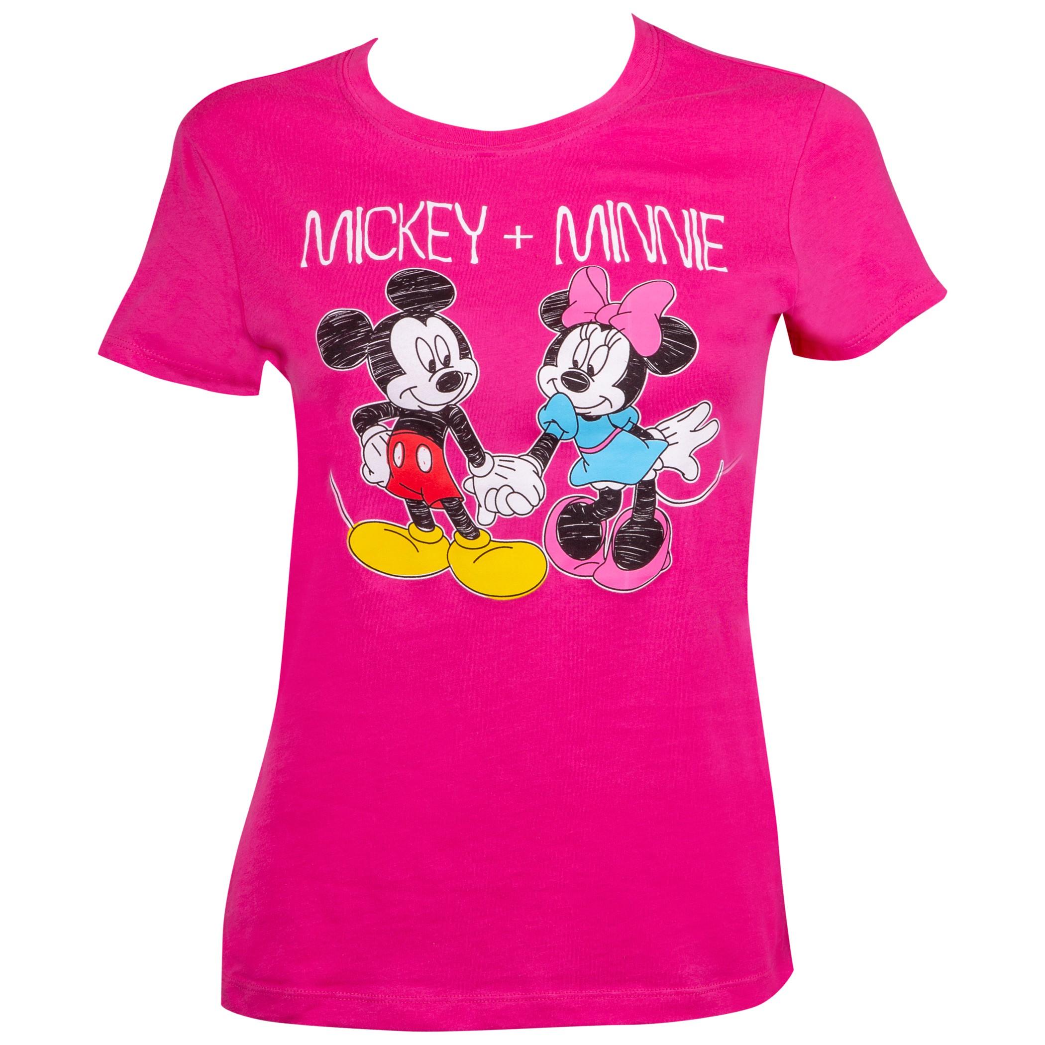 Mickey And Minnie Hand Holding Pink Ladies Tee Shirt