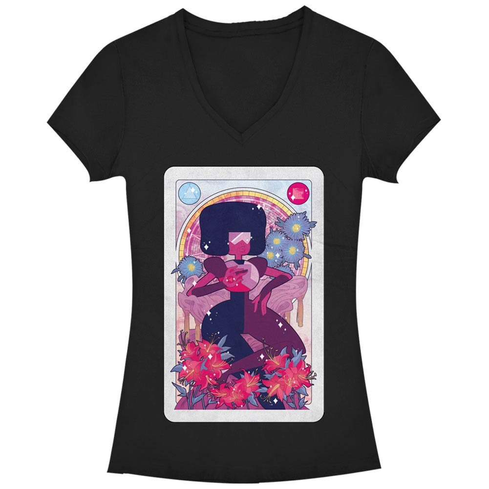 Steven Universe Garnet Card Black Juniors V Neck T-Shirt