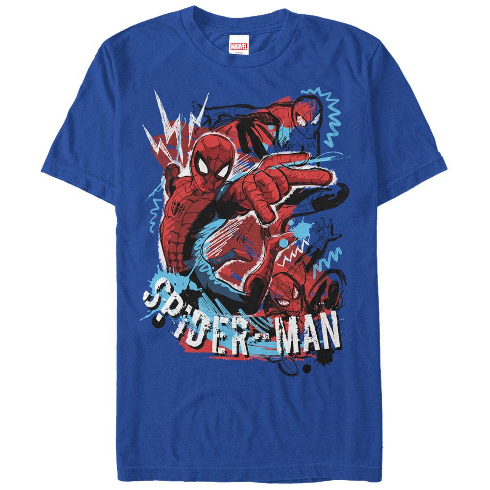 Spiderman Spidey Draw Blue Mens T-Shirt
