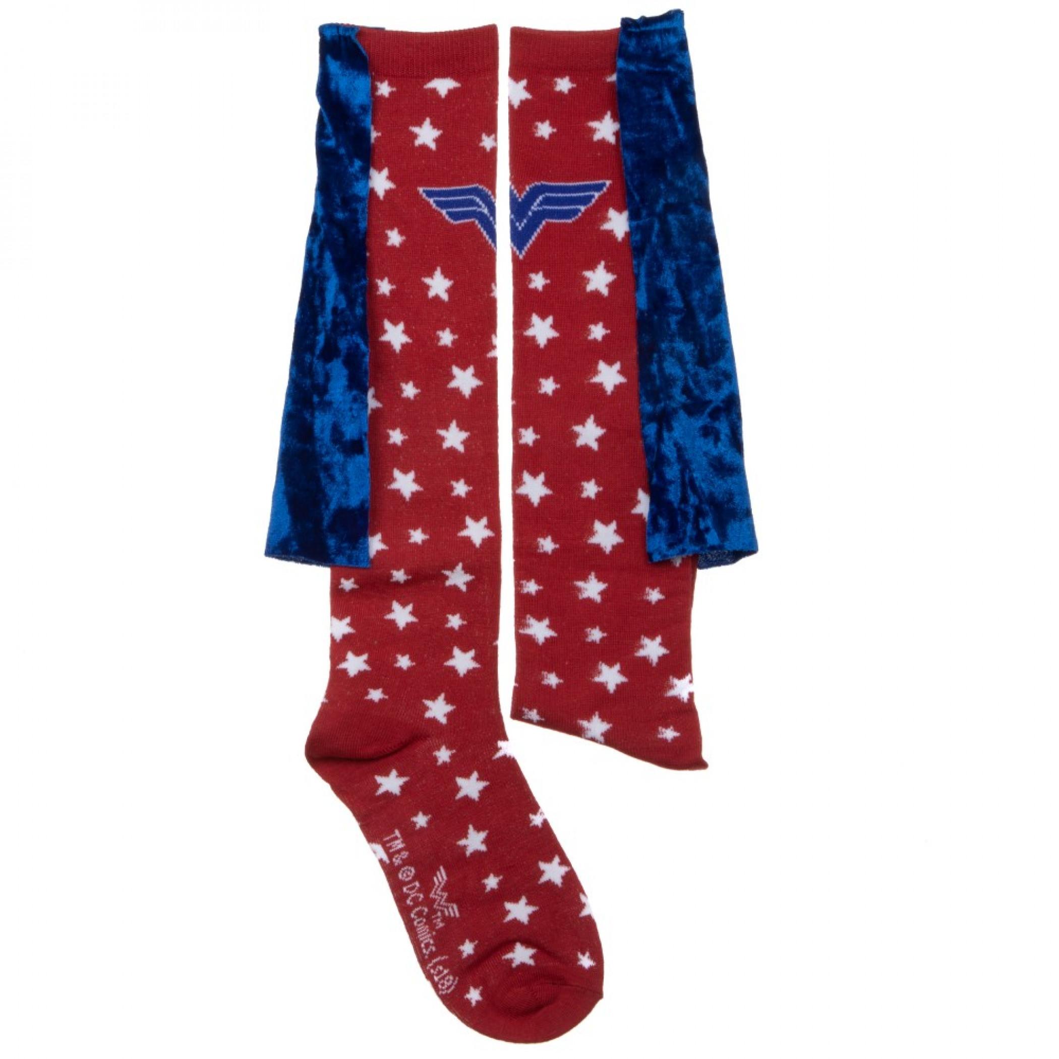 Wonder Woman Velvet Cape Junior Knee-High Socks