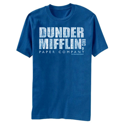 The Office Dunder Mifflin Distressed Logo Men's Blue T-Shirt