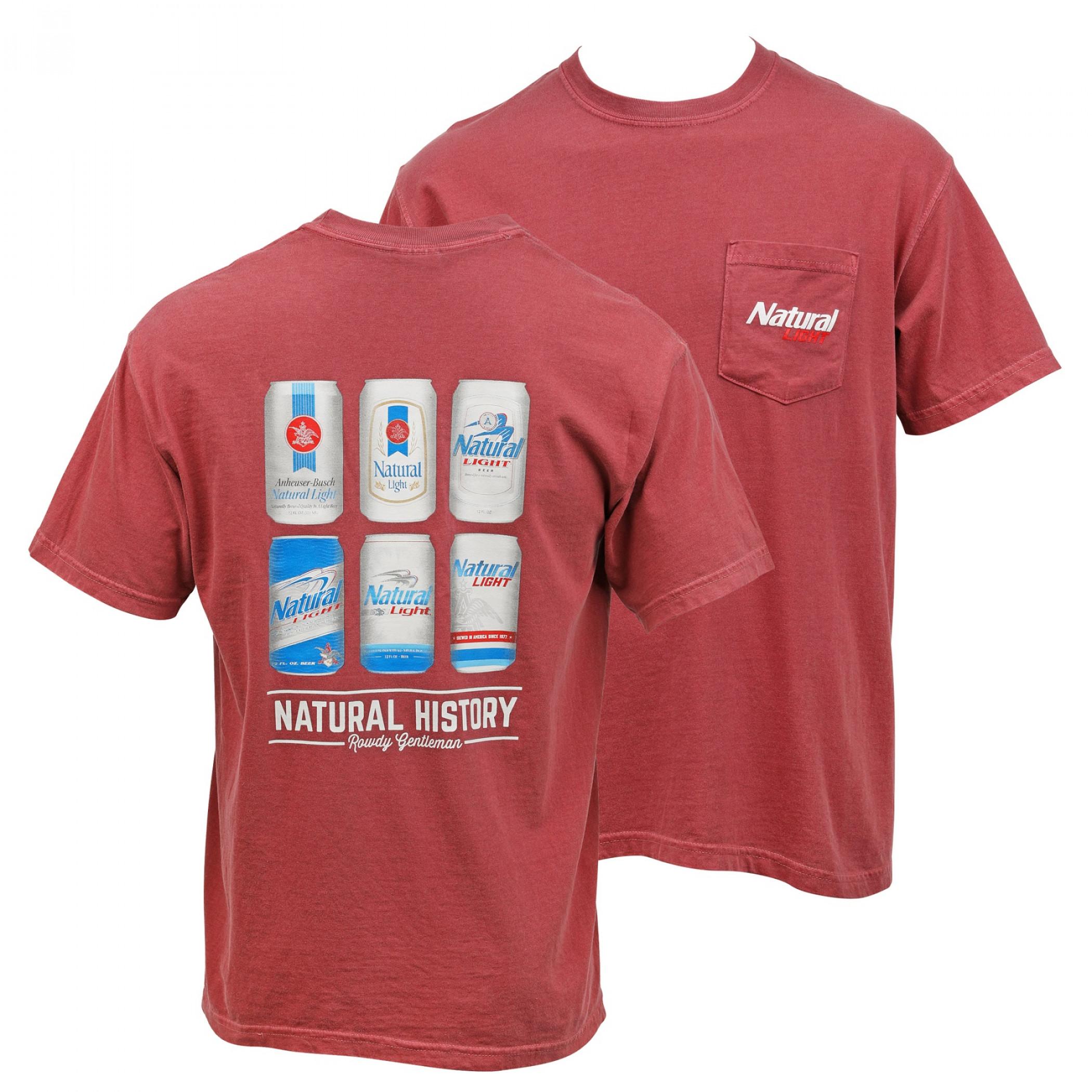 Natural Light Beer Natural History Pocket T-Shirt