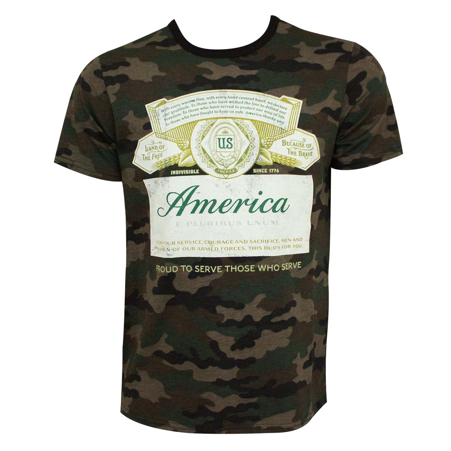 Budweiser Label Style America Patriotic Camo Men's T-Shirt