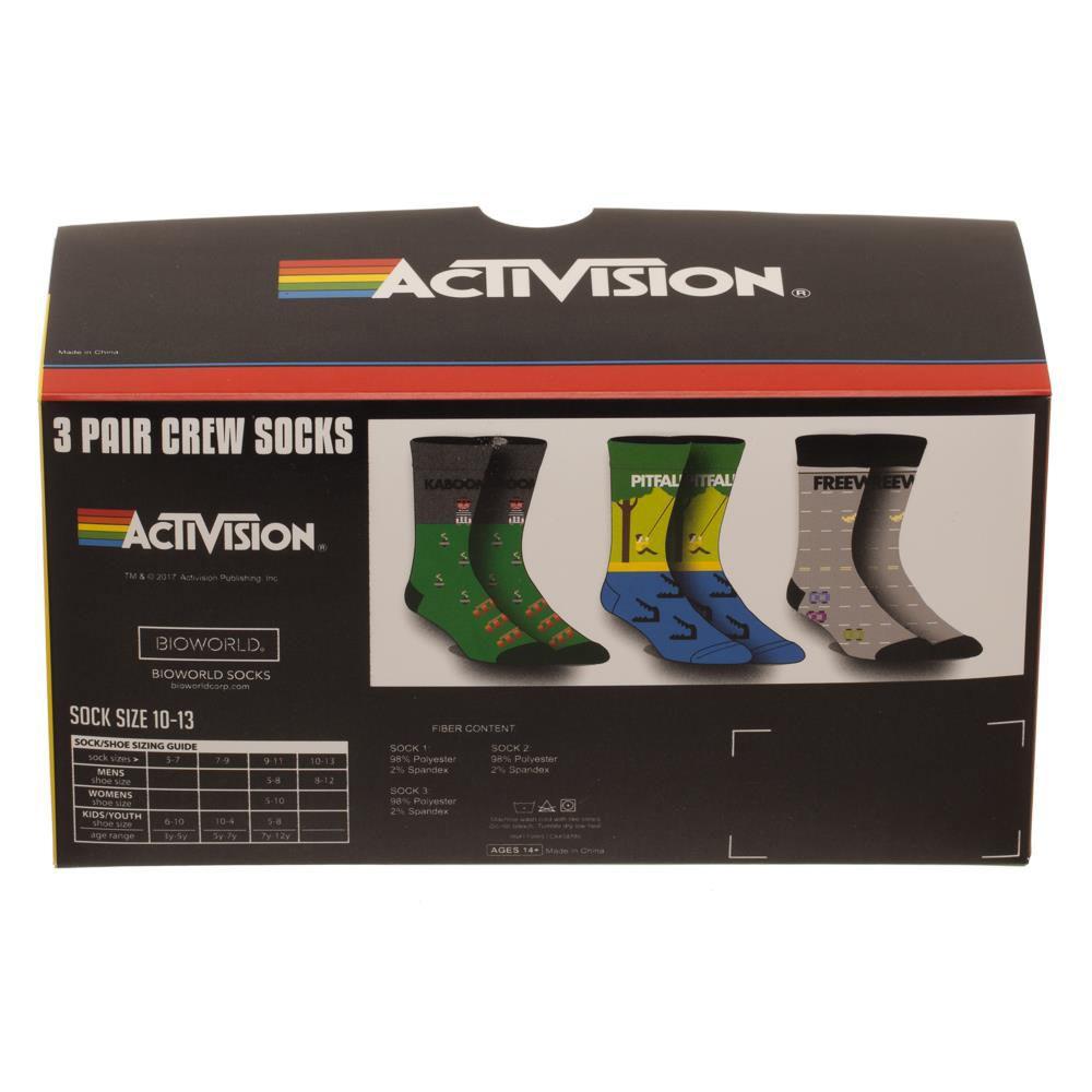 Atari Activision Games 3 Pack Mens Crew Socks