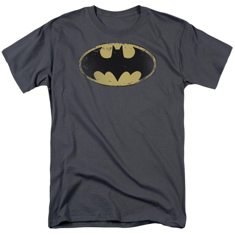 Batman Distressed Sheild Logo Men's Grey Tshirt