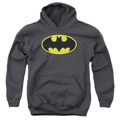 Batman Classic Logo Grey Youth Hoodie
