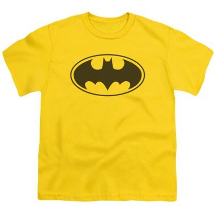 Batman Classic Logo Yellow Youth Tshirt