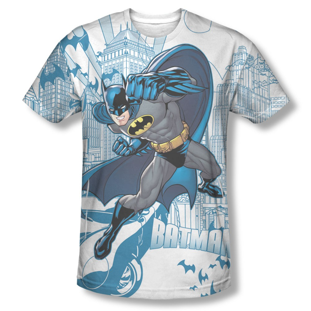 Batman Skyline Sublimation White Tee Shirt